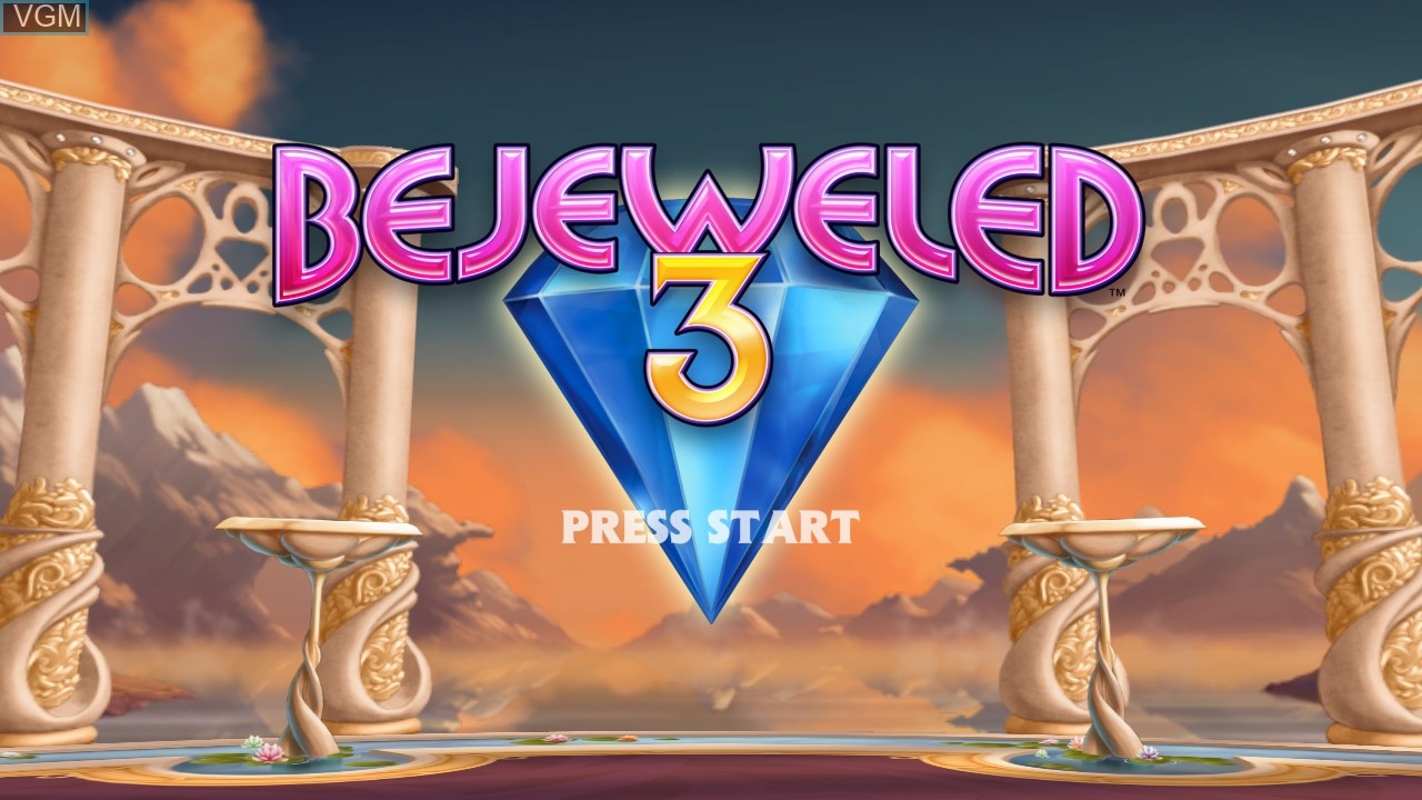 Title screen of the game Bejeweled 3 on Microsoft Xbox 360