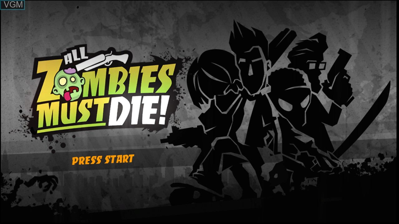 Title screen of the game All Zombies Must Die! on Microsoft Xbox 360