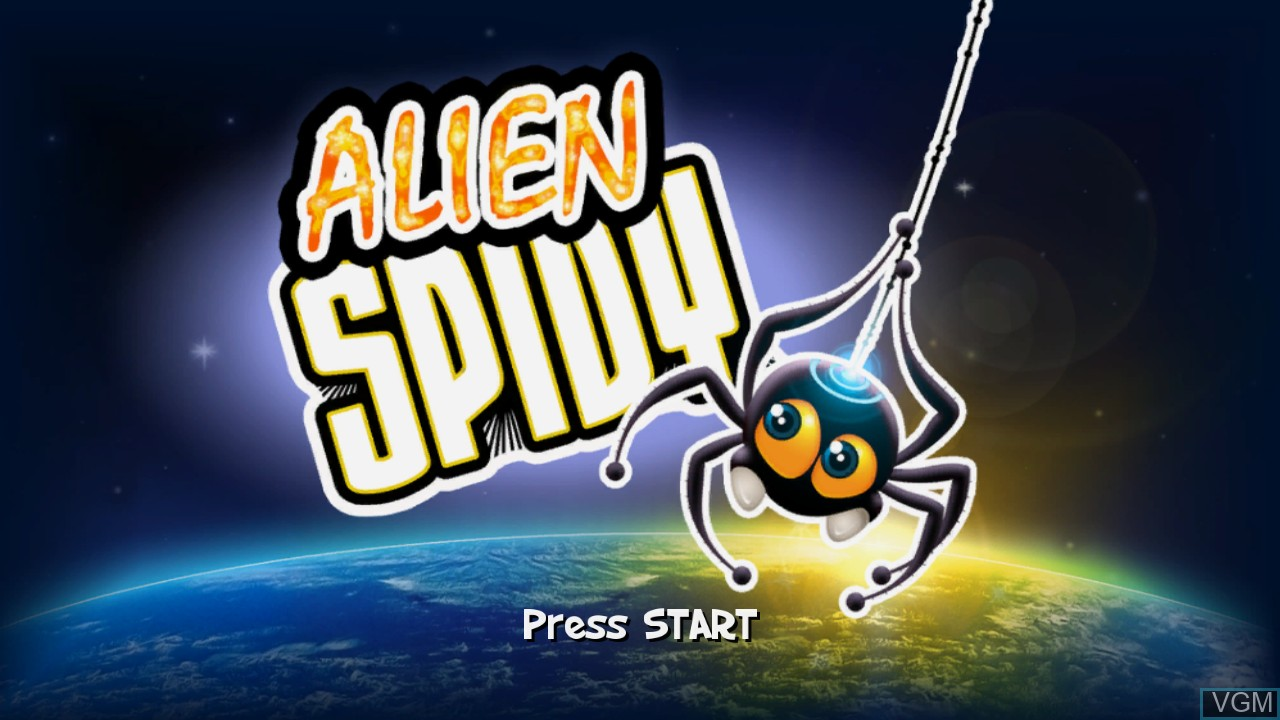 Title screen of the game Alien Spidy on Microsoft Xbox 360