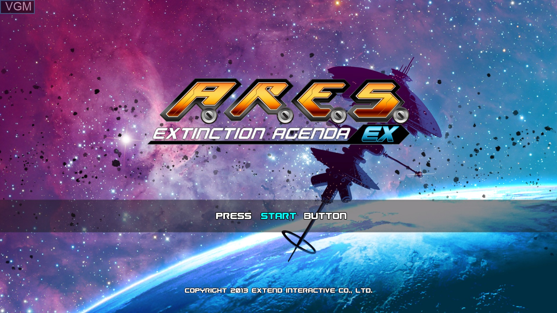 Title screen of the game A.R.E.S. Extinction Agenda EX on Microsoft Xbox 360