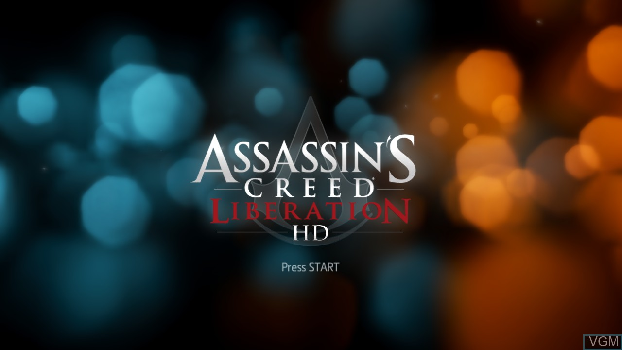 Title screen of the game Assassin's Creed Liberation HD on Microsoft Xbox 360