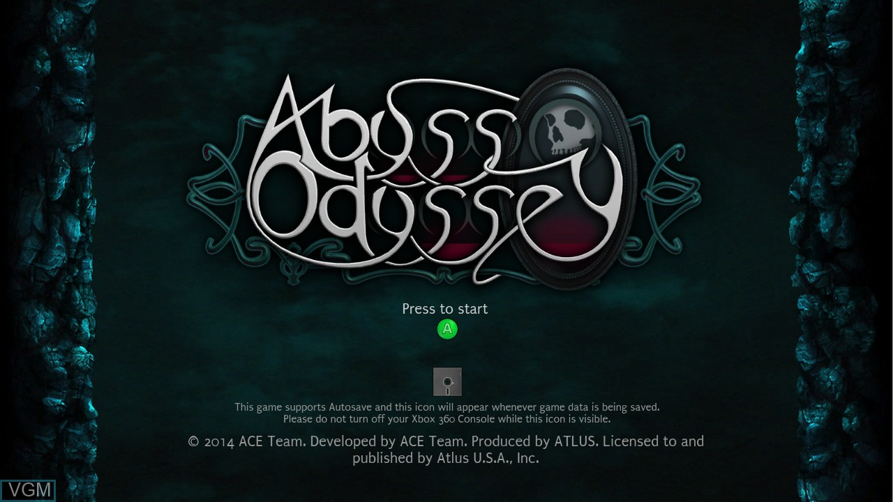 Title screen of the game Abyss Odyssey on Microsoft Xbox 360