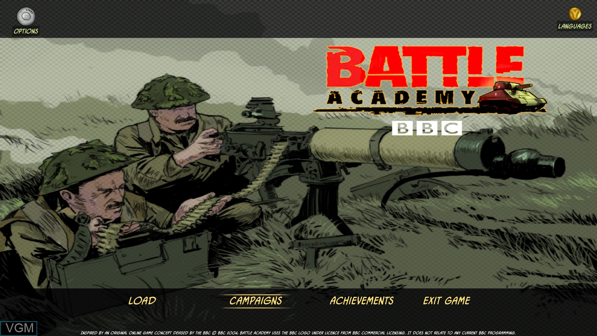Title screen of the game Battle Academy on Microsoft Xbox 360