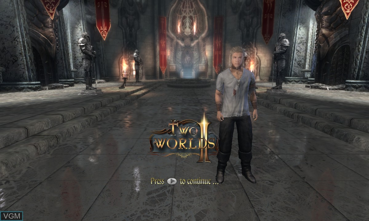 Title screen of the game Two Worlds II on Microsoft Xbox 360
