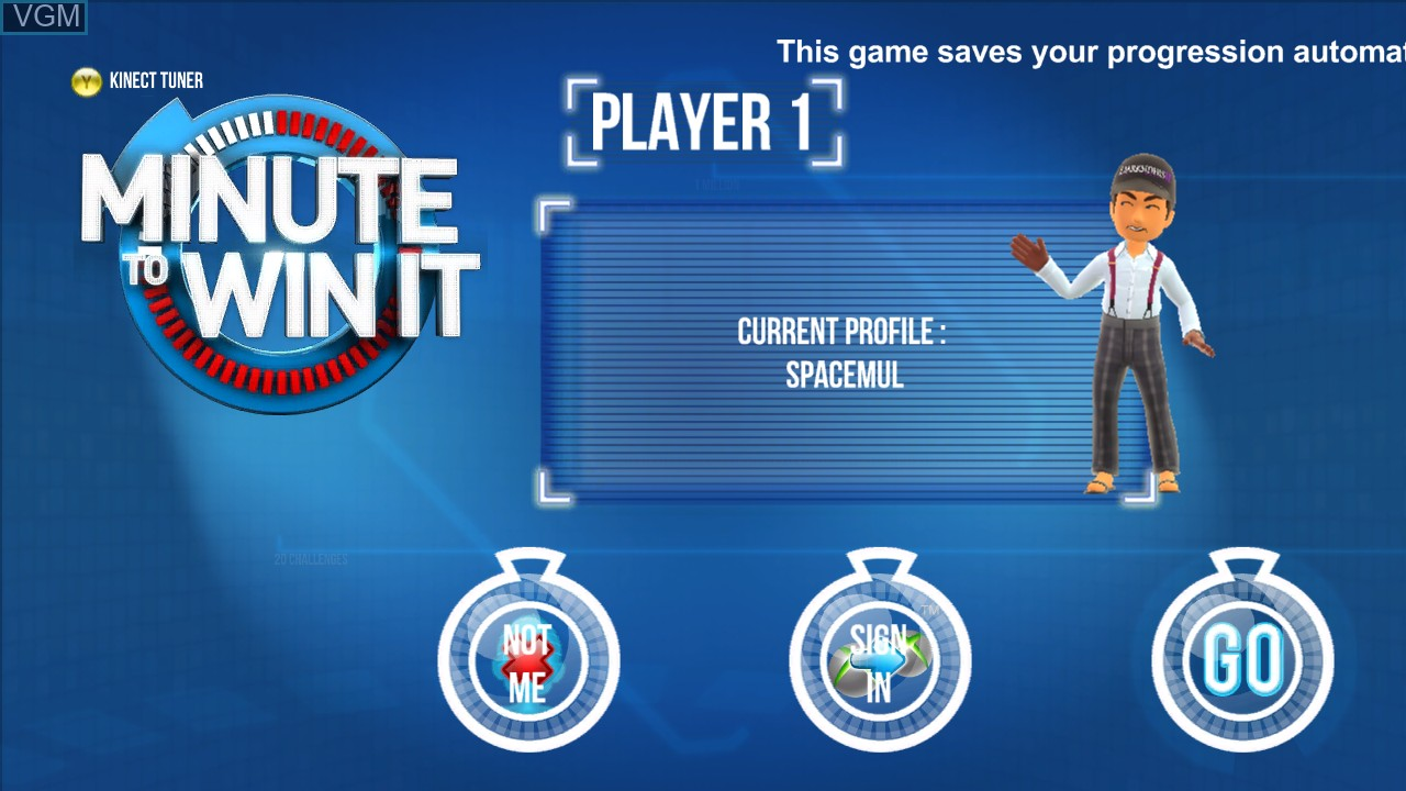 Title screen of the game Minute to Win It on Microsoft Xbox 360