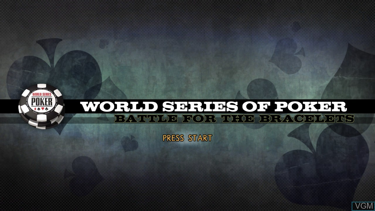 Title screen of the game World Series of Poker 2008 - Battle for the Bracelets on Microsoft Xbox 360