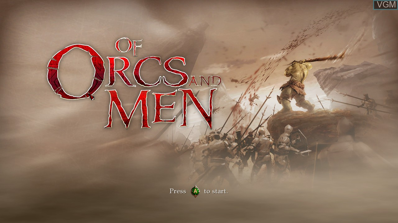 Title screen of the game Of Orcs and Men on Microsoft Xbox 360