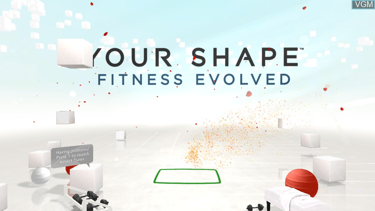 Title screen of the game Your Shape - Fitness Evolved on Microsoft Xbox 360