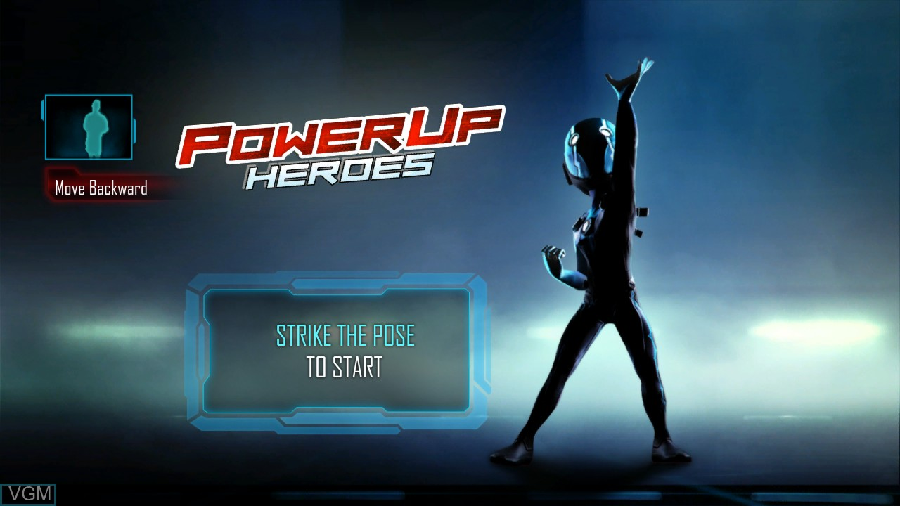 Title screen of the game PowerUp Heroes on Microsoft Xbox 360