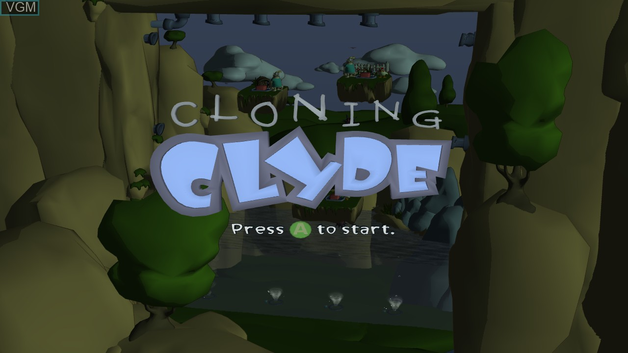 Title screen of the game Cloning Clyde on Microsoft Xbox 360