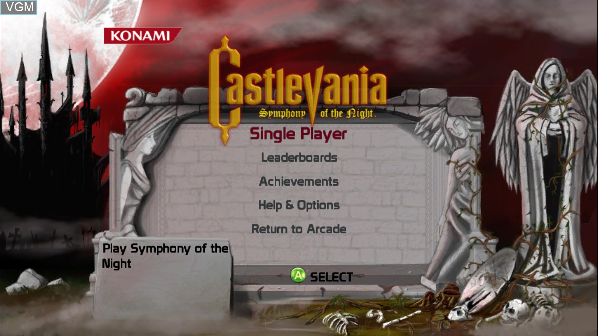 Title screen of the game Castlevania - Symphony of the Night on Microsoft Xbox 360