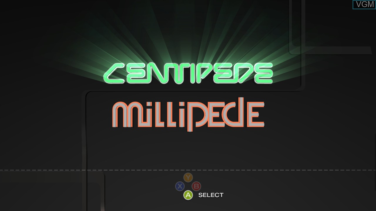 Title screen of the game Centipede & Millipede on Microsoft Xbox 360