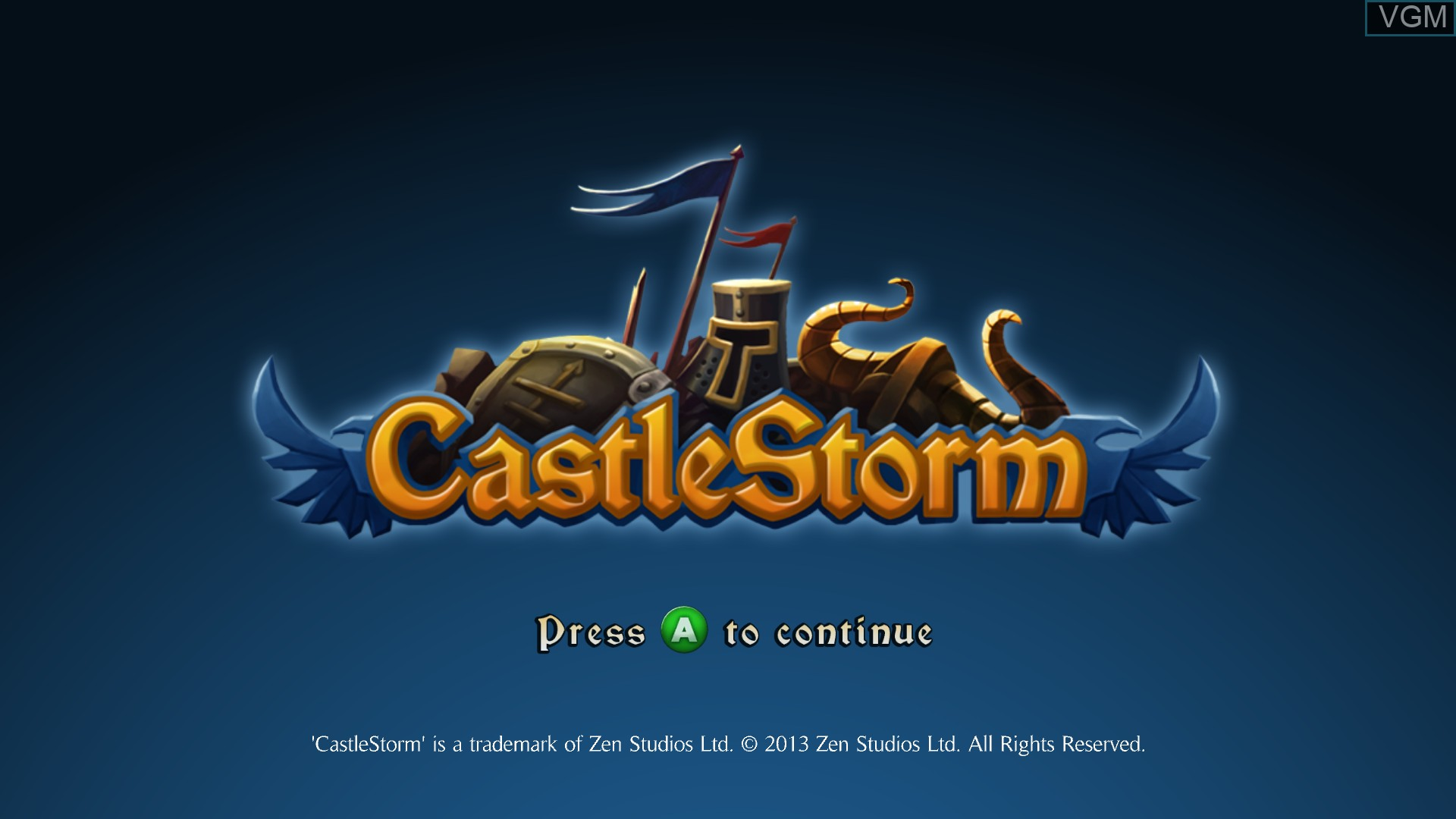 Title screen of the game CastleStorm on Microsoft Xbox 360