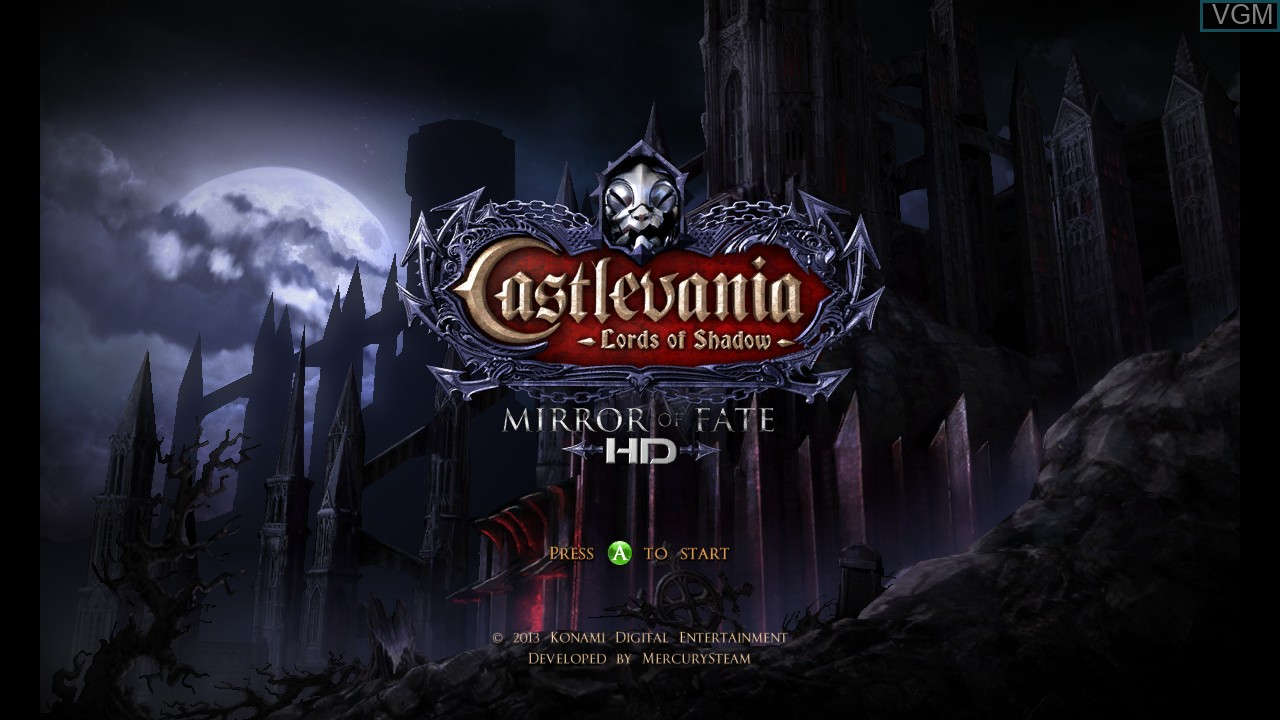 Title screen of the game Castlevania - Lords of Shadow - Mirror of Fate HD on Microsoft Xbox 360