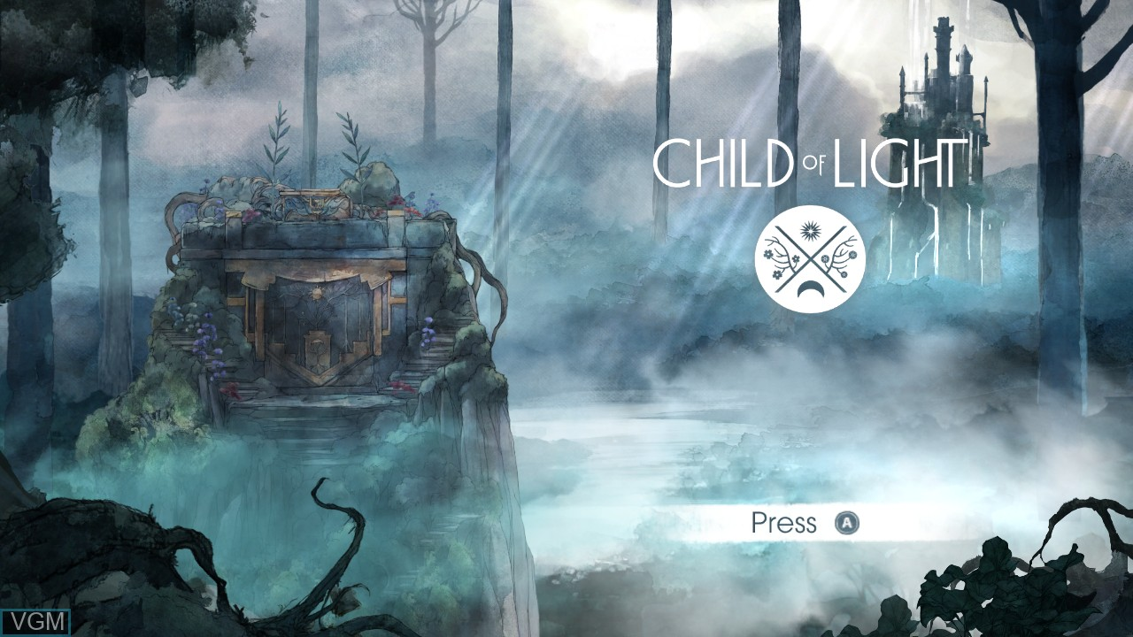 Title screen of the game Child of Light on Microsoft Xbox 360