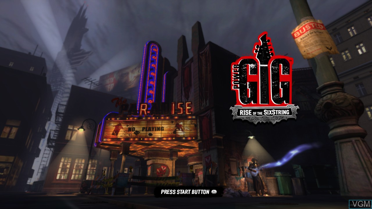 Title screen of the game Power Gig - Rise of the SixString on Microsoft Xbox 360