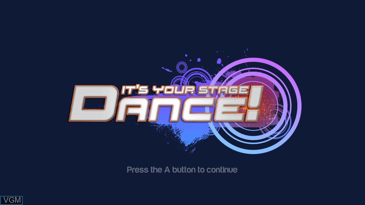 Title screen of the game Dance! It's Your Stage on Microsoft Xbox 360