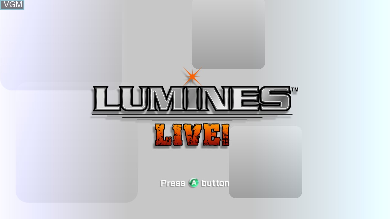 Title screen of the game Lumines Live! on Microsoft Xbox 360