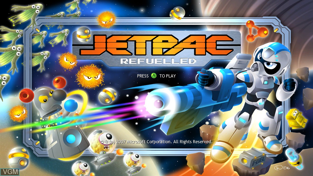 Title screen of the game Jetpac Refuelled on Microsoft Xbox 360