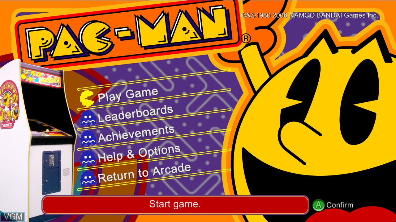 Title screen of the game Pac-Man on Microsoft Xbox 360