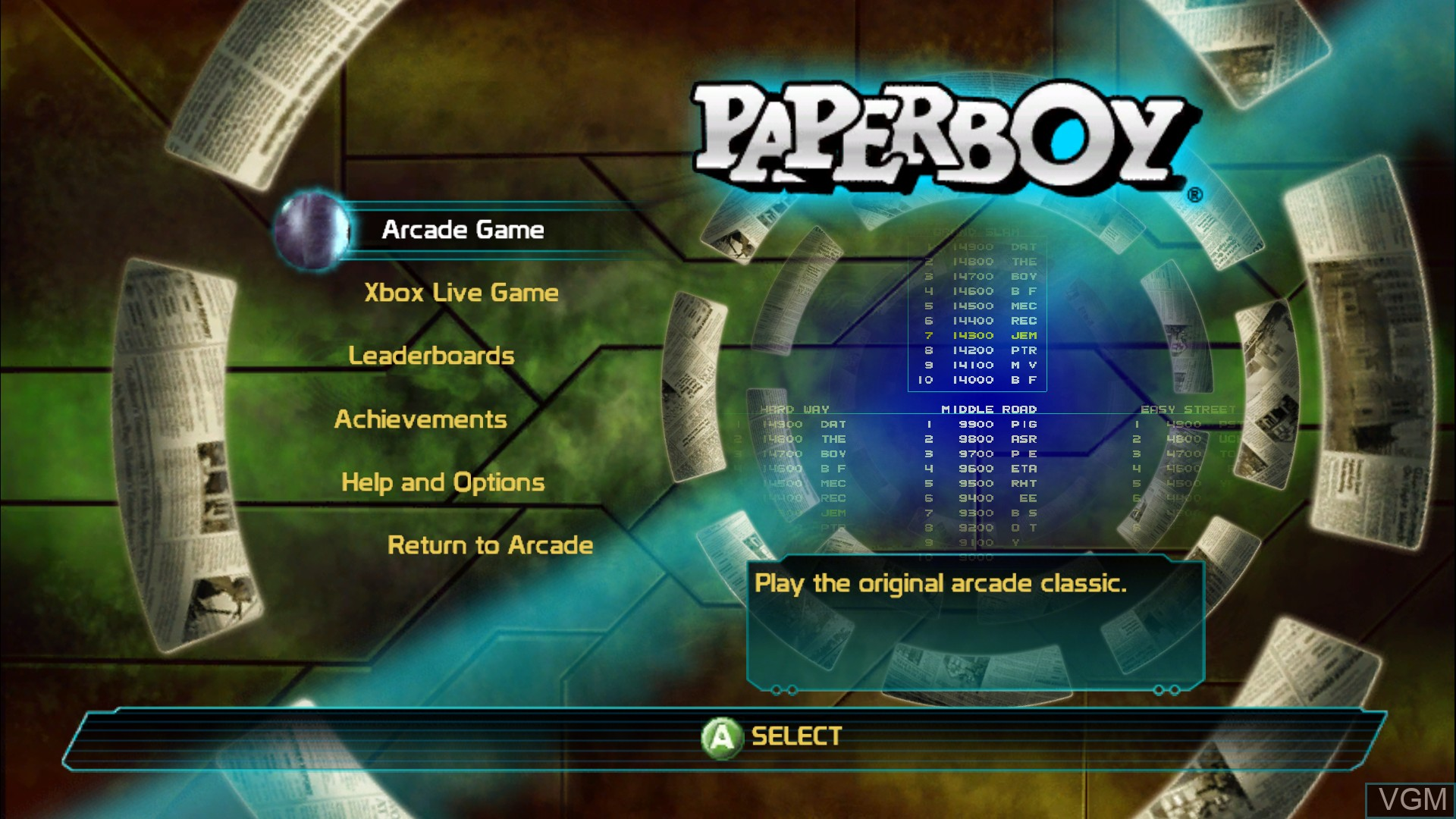 Title screen of the game Paperboy on Microsoft Xbox 360