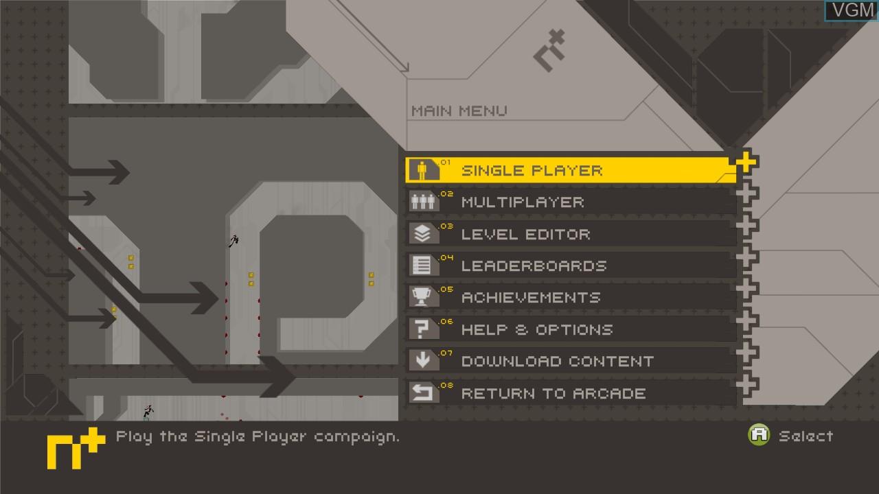 Title screen of the game N+ on Microsoft Xbox 360
