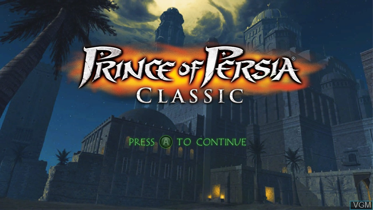 Title screen of the game Prince of Persia Classic on Microsoft Xbox 360
