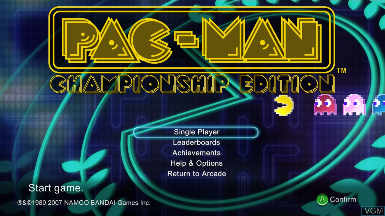 Title screen of the game Pac-Man Championship Edition on Microsoft Xbox 360