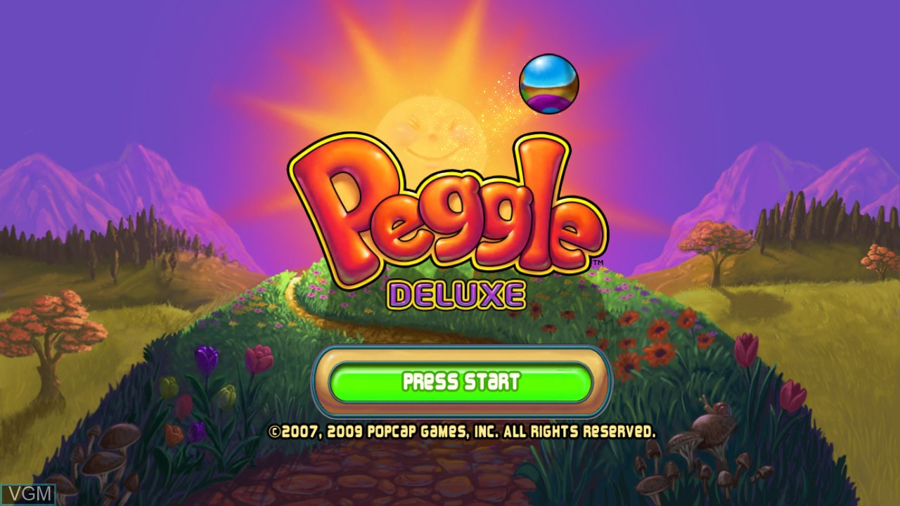 Title screen of the game Peggle on Microsoft Xbox 360