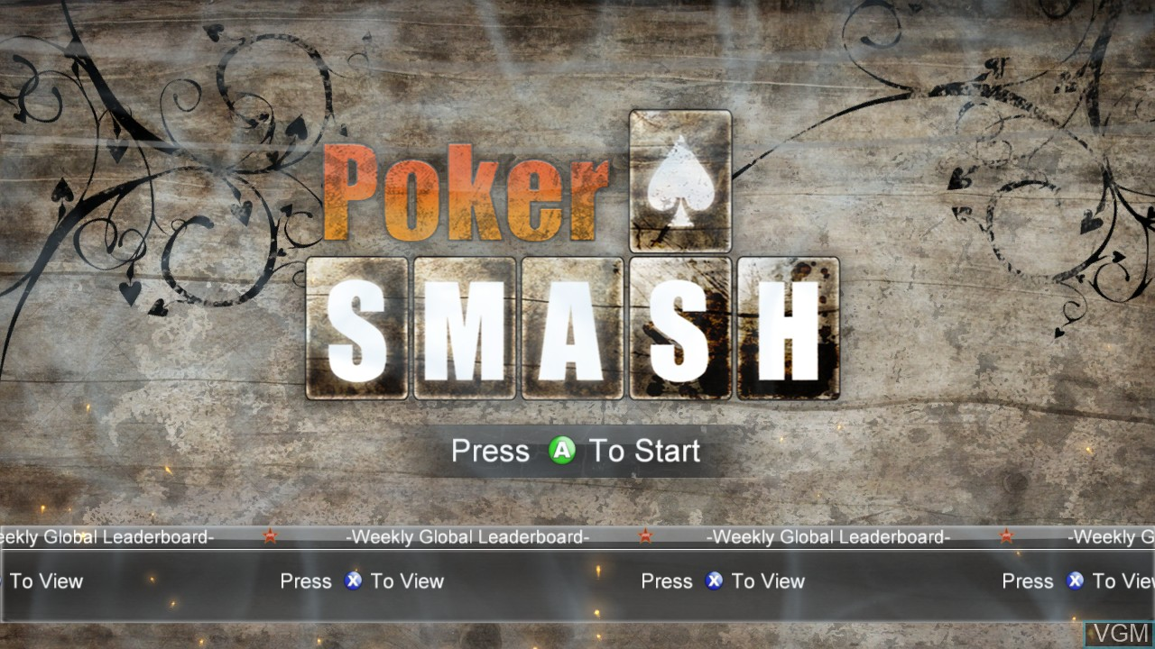 Title screen of the game Poker Smash on Microsoft Xbox 360