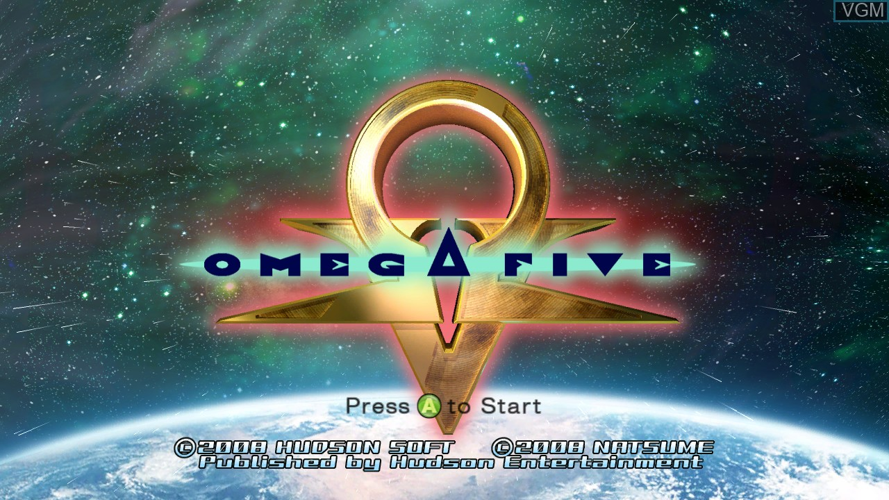 Title screen of the game Omega Five on Microsoft Xbox 360