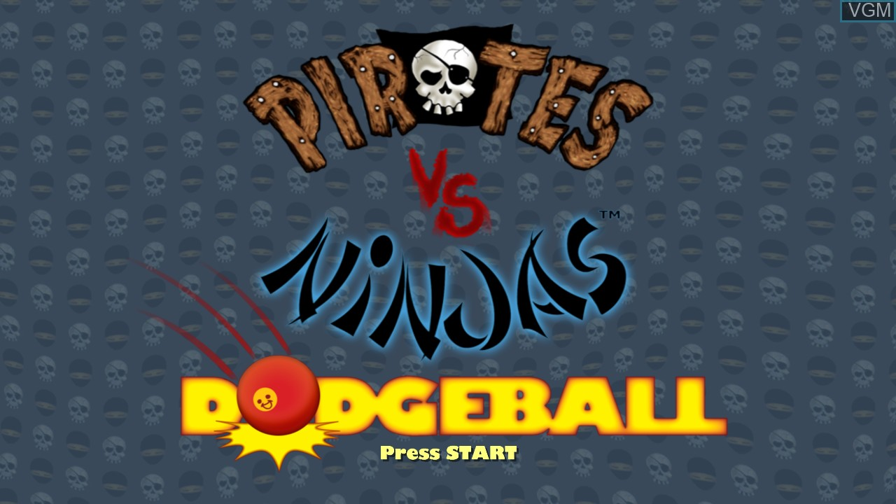 Title screen of the game Pirates vs Ninjas Dodgeball on Microsoft Xbox 360
