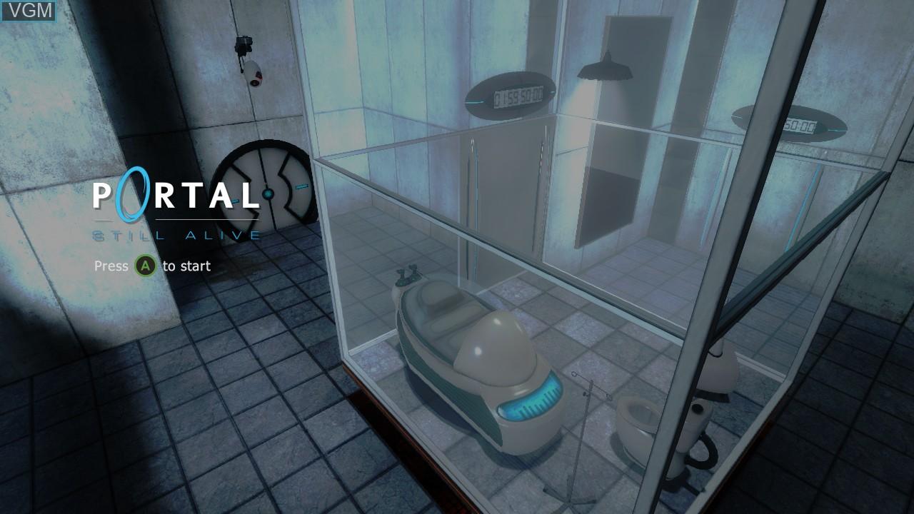 Title screen of the game Portal - Still Alive on Microsoft Xbox 360