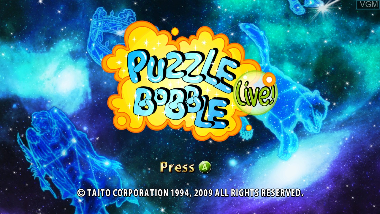 Title screen of the game Puzzle Bobble Live! on Microsoft Xbox 360