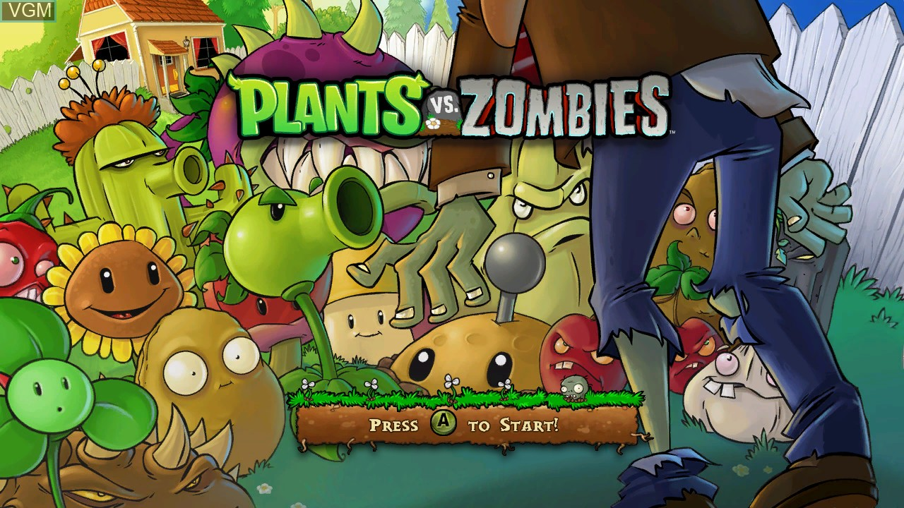 Title screen of the game Plants vs. Zombies on Microsoft Xbox 360