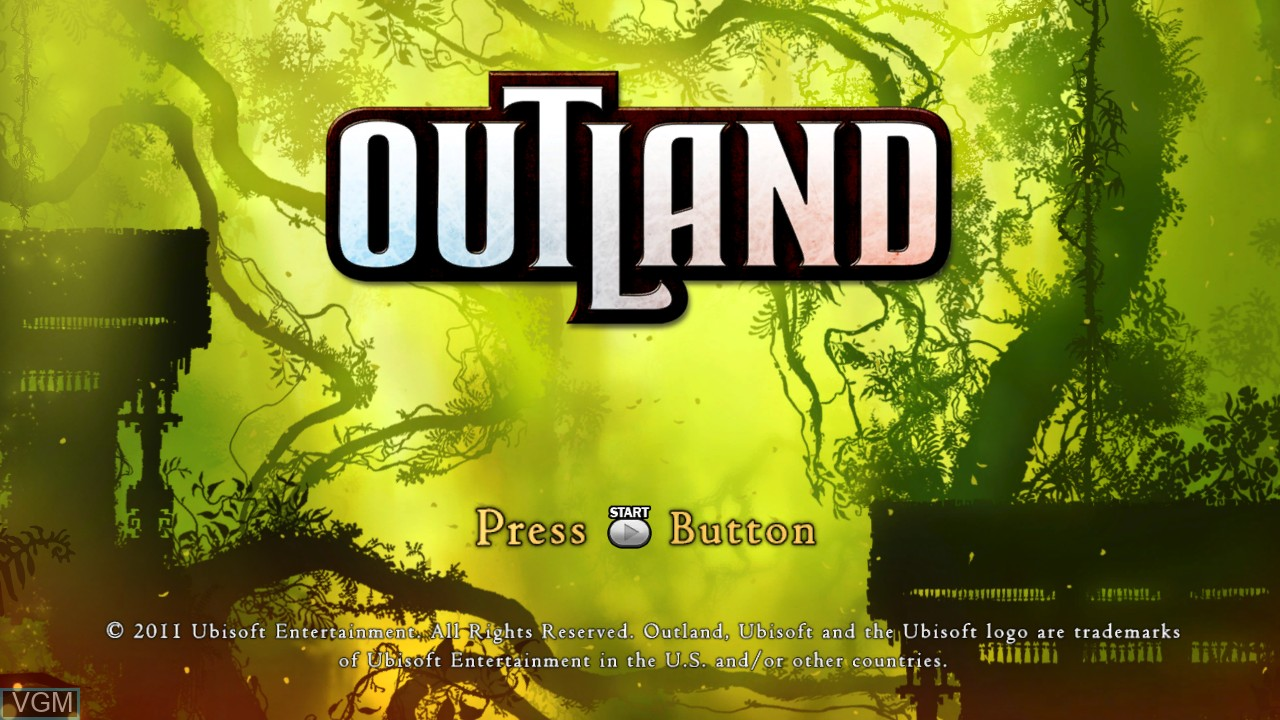 Title screen of the game Outland on Microsoft Xbox 360