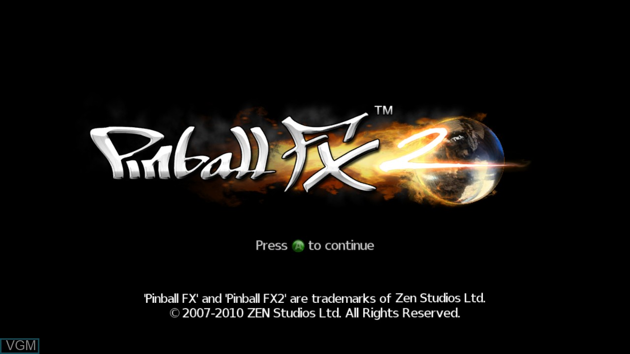 Title screen of the game Pinball FX on Microsoft Xbox 360