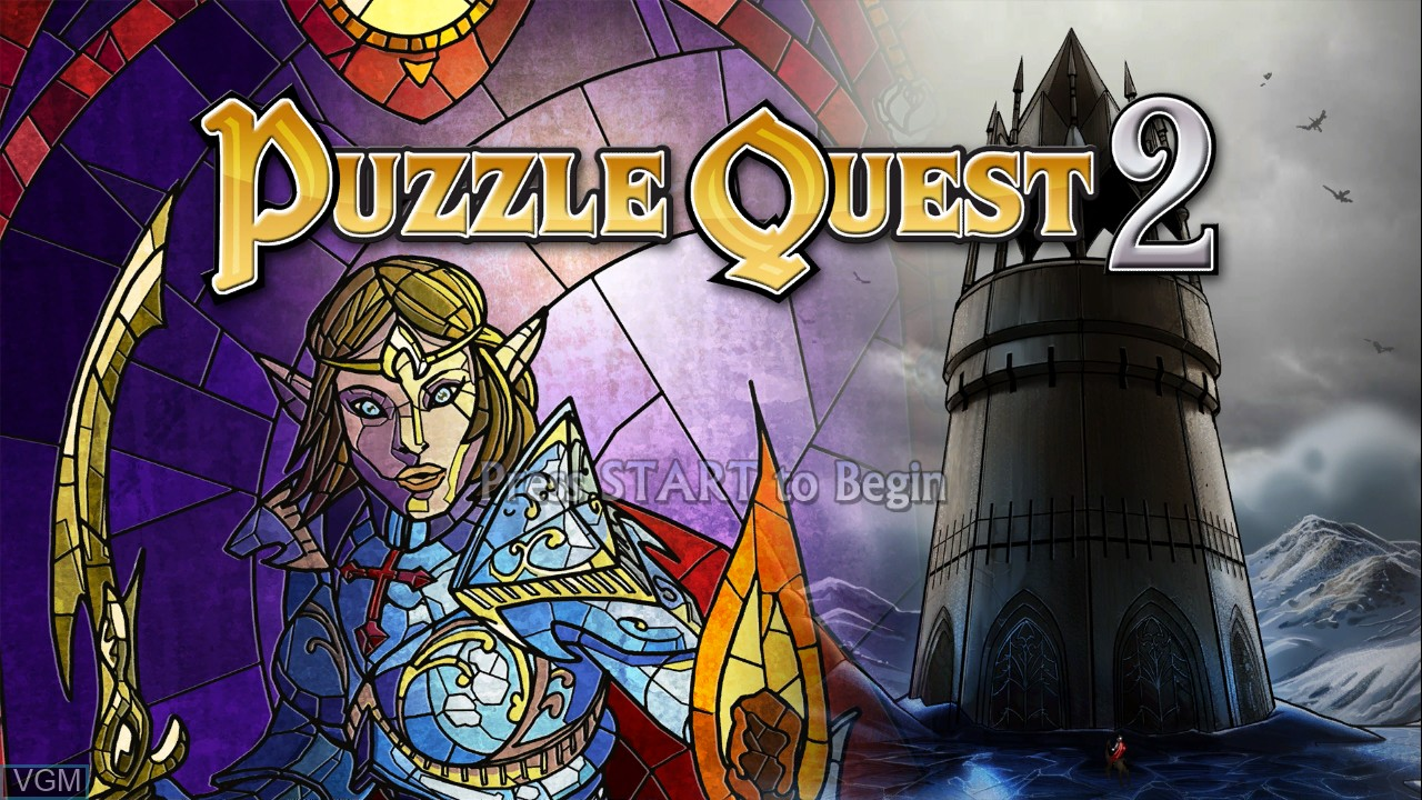 Title screen of the game Puzzle Quest 2 on Microsoft Xbox 360