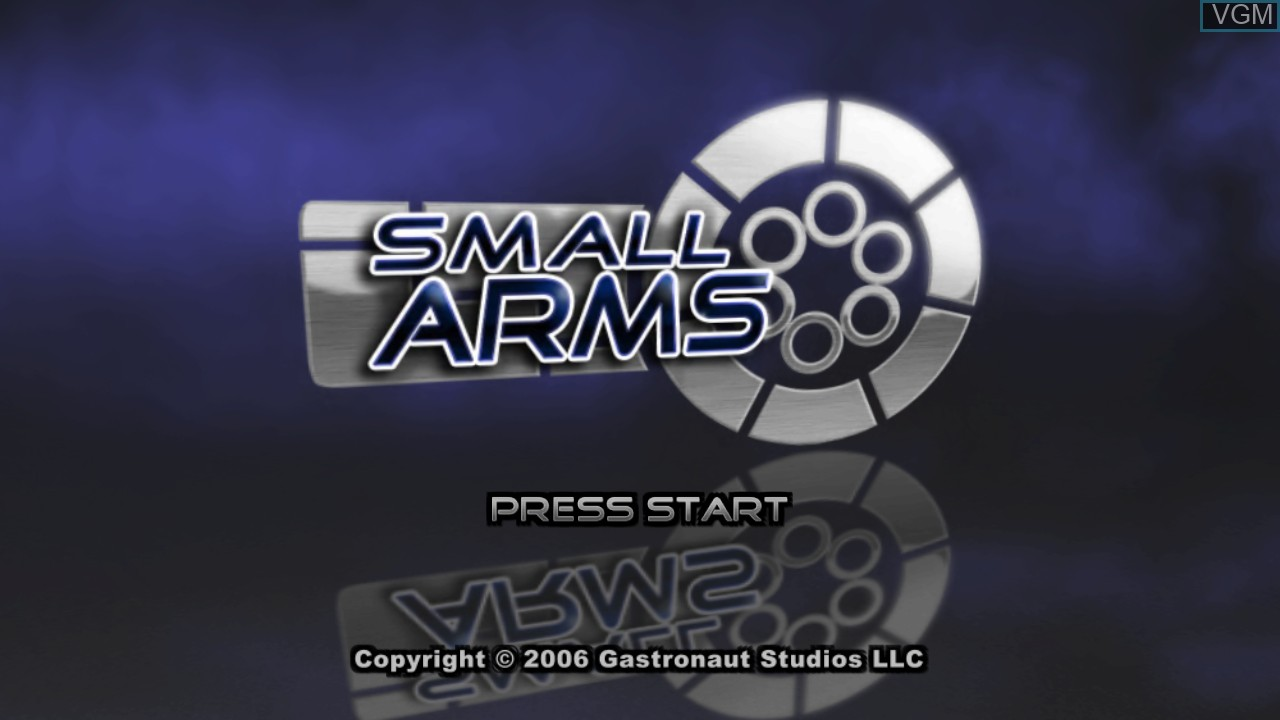Title screen of the game Small Arms on Microsoft Xbox 360