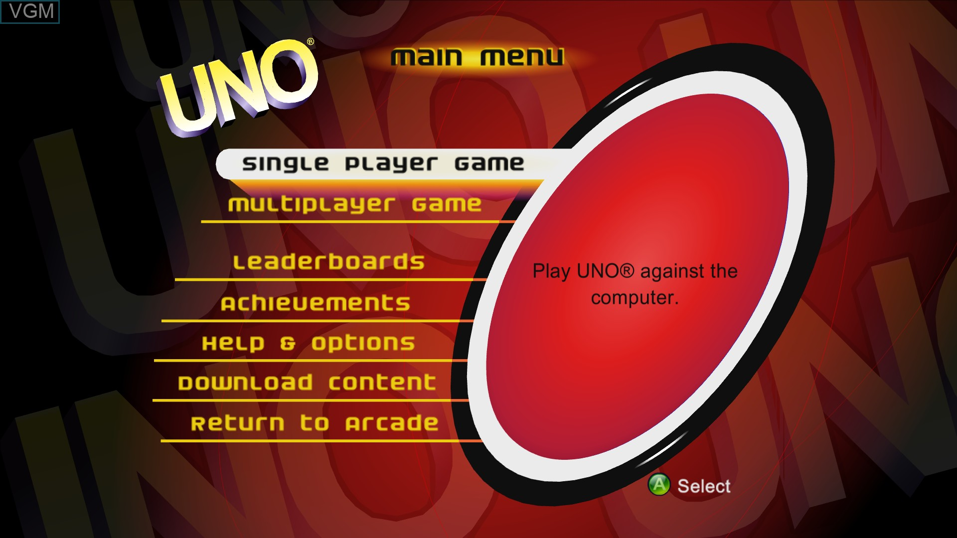 Title screen of the game Uno on Microsoft Xbox 360