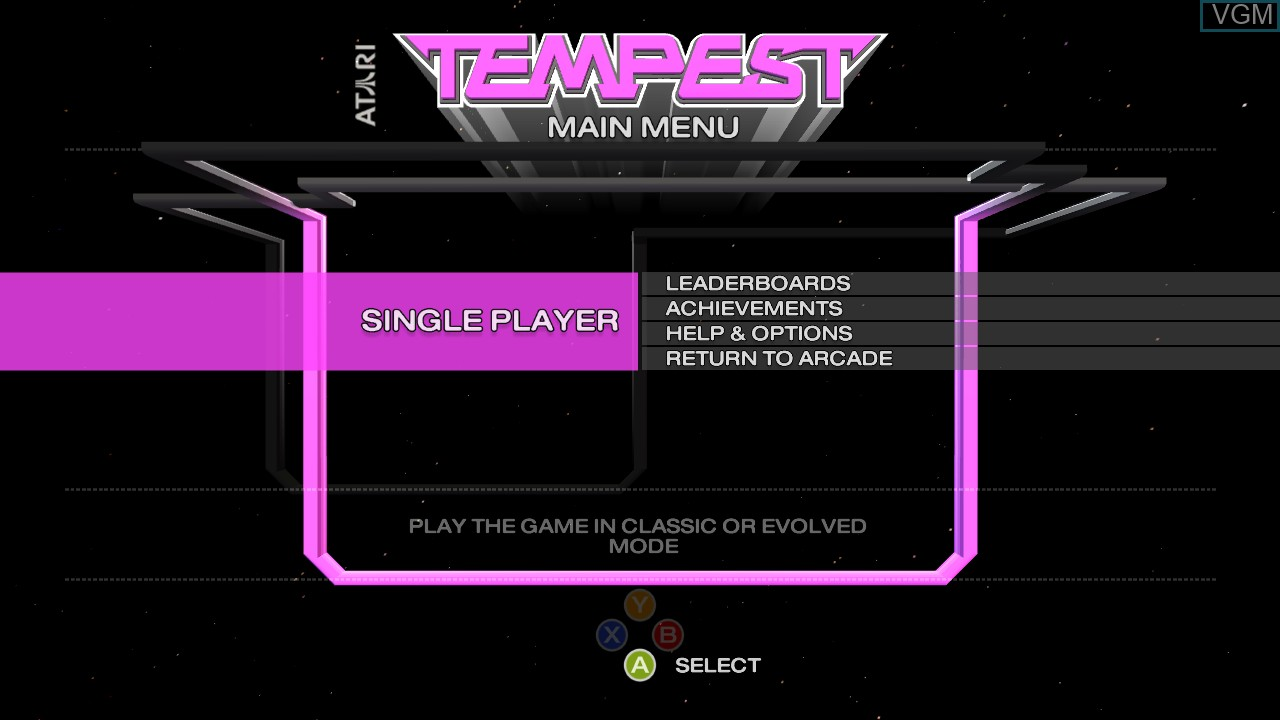Title screen of the game Tempest on Microsoft Xbox 360