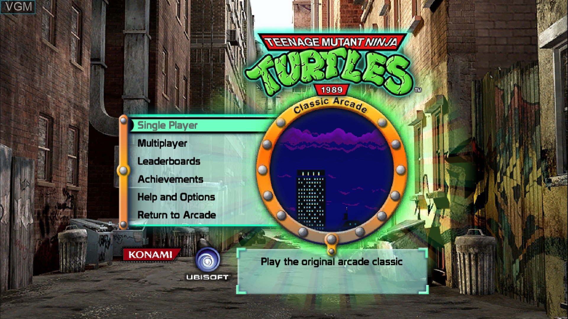 Title screen of the game Teenage Mutant Ninja Turtles - 1989 Classic Arcade on Microsoft Xbox 360
