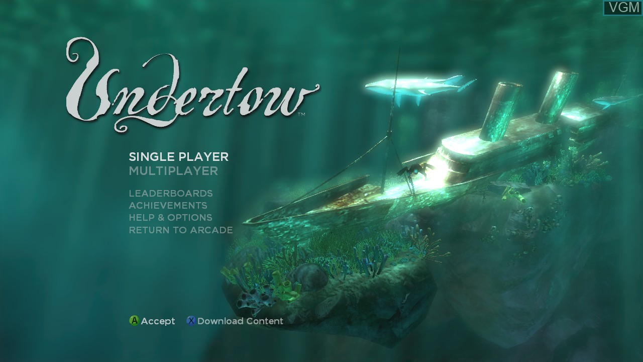 Title screen of the game Undertow on Microsoft Xbox 360