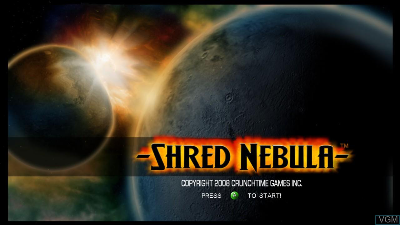 Title screen of the game Shred Nebula on Microsoft Xbox 360