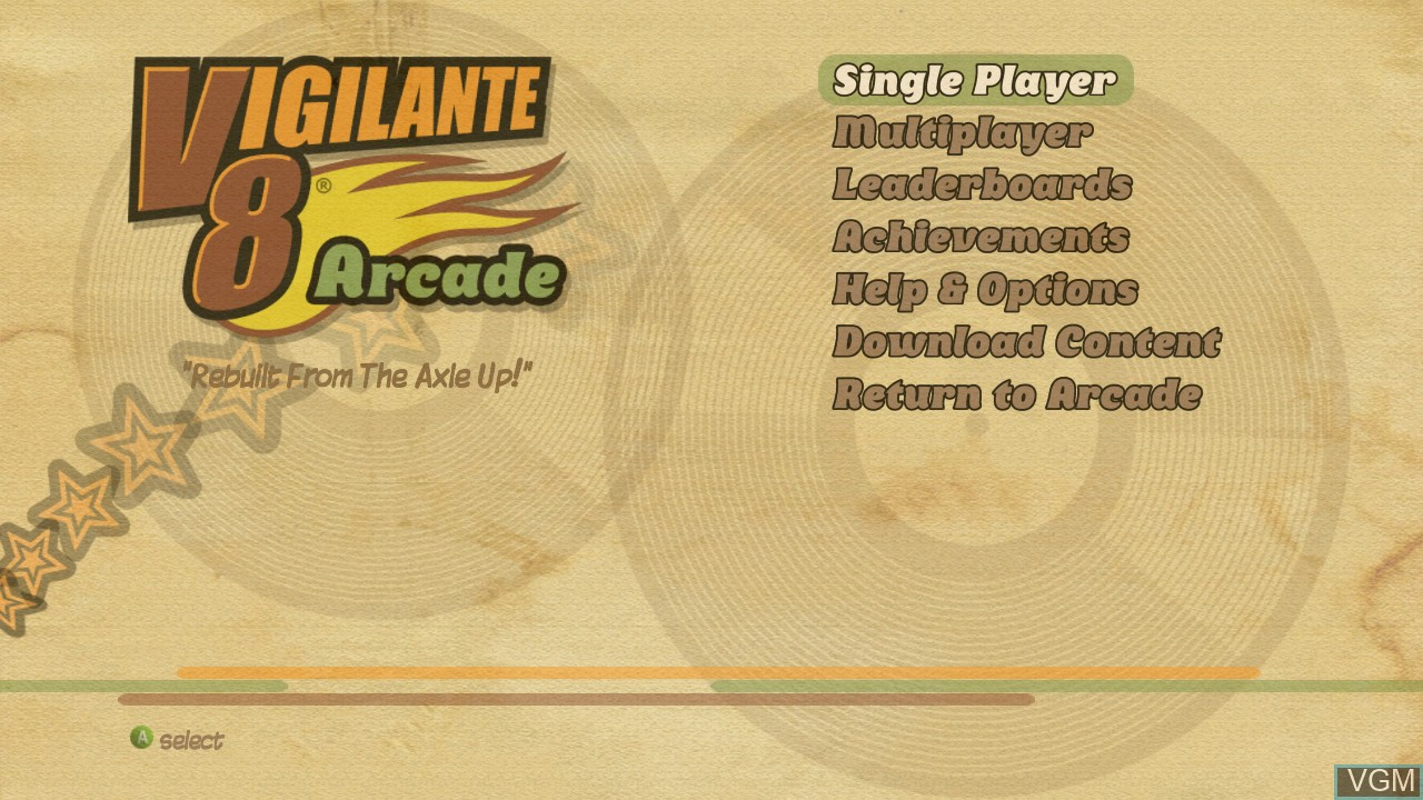 Title screen of the game Vigilante 8 - Arcade on Microsoft Xbox 360