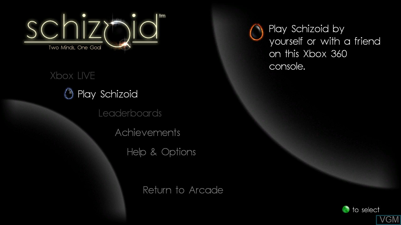 Title screen of the game Schizoid on Microsoft Xbox 360