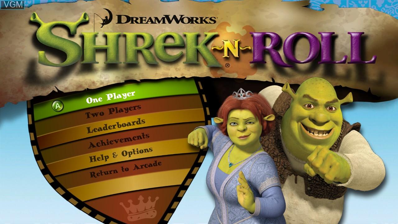 Title screen of the game Shrek-N-Roll on Microsoft Xbox 360