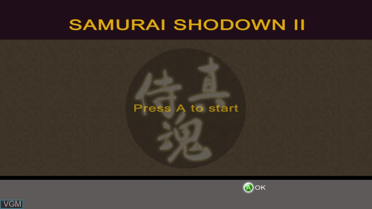 Title screen of the game Samurai Shodown II on Microsoft Xbox 360