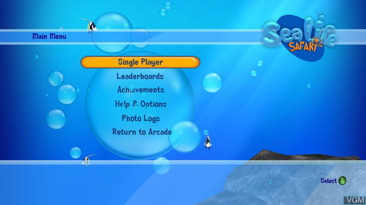 Title screen of the game Sea Life Safari on Microsoft Xbox 360