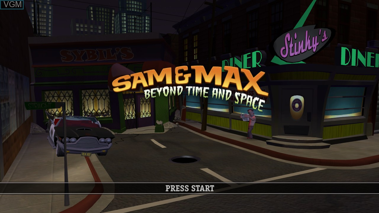 Title screen of the game Sam & Max - Beyond Time and Space on Microsoft Xbox 360